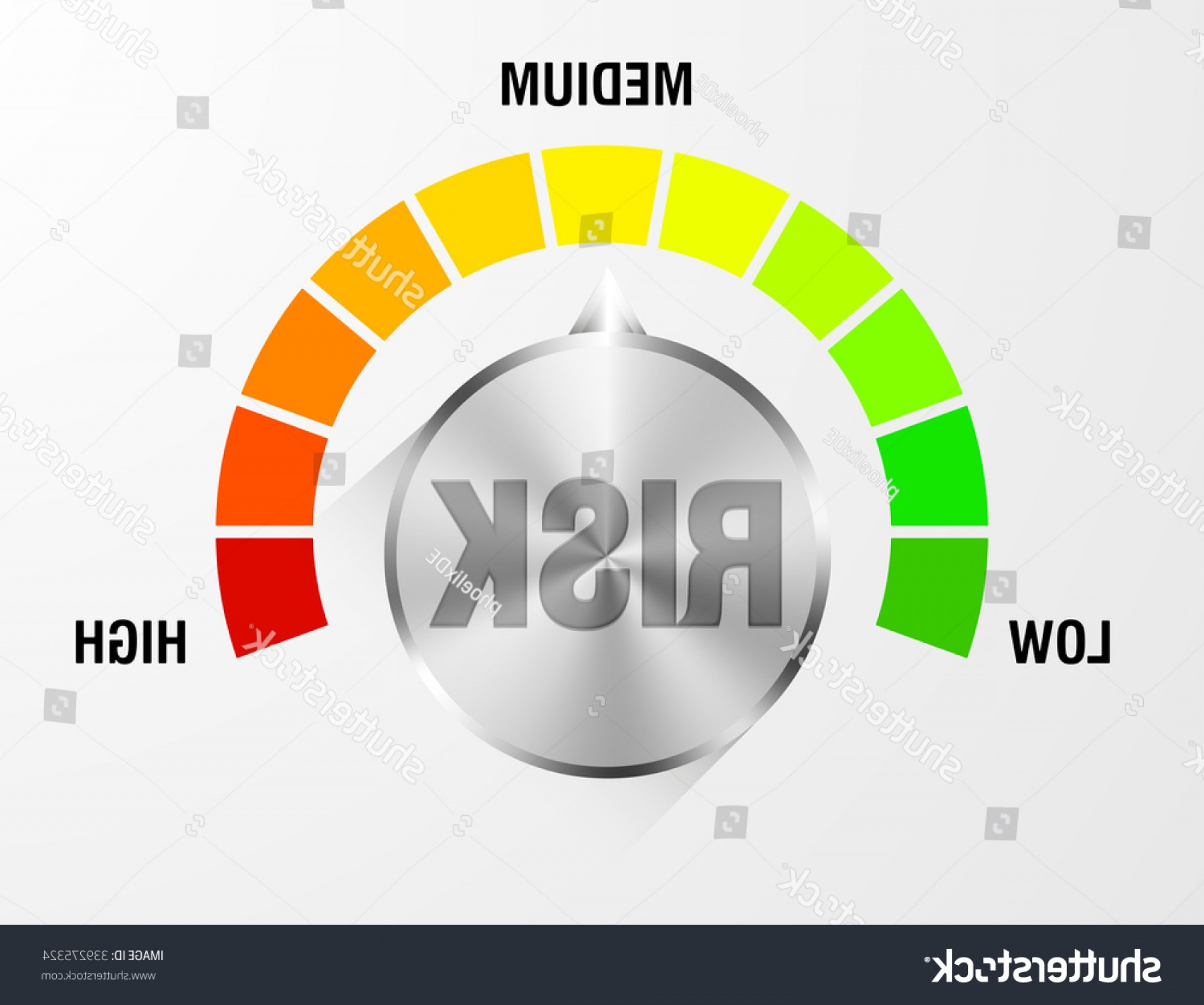 Low High Meter Vector: Detailed Illustration Risk Meter Eps Vector