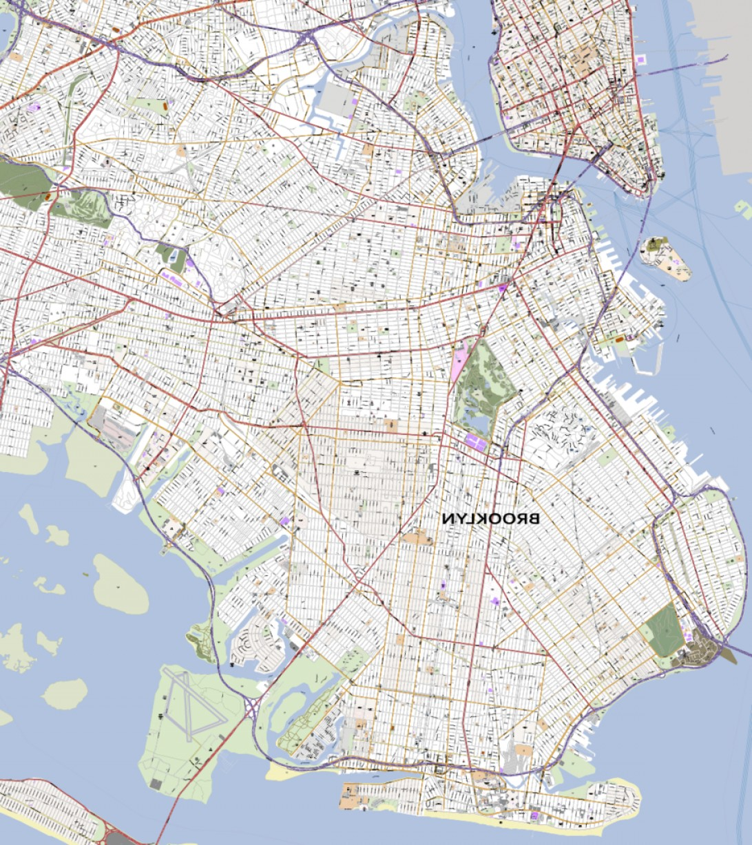 Midtown East Map Vector: Detailed Vector Map Of Brooklyn New York City