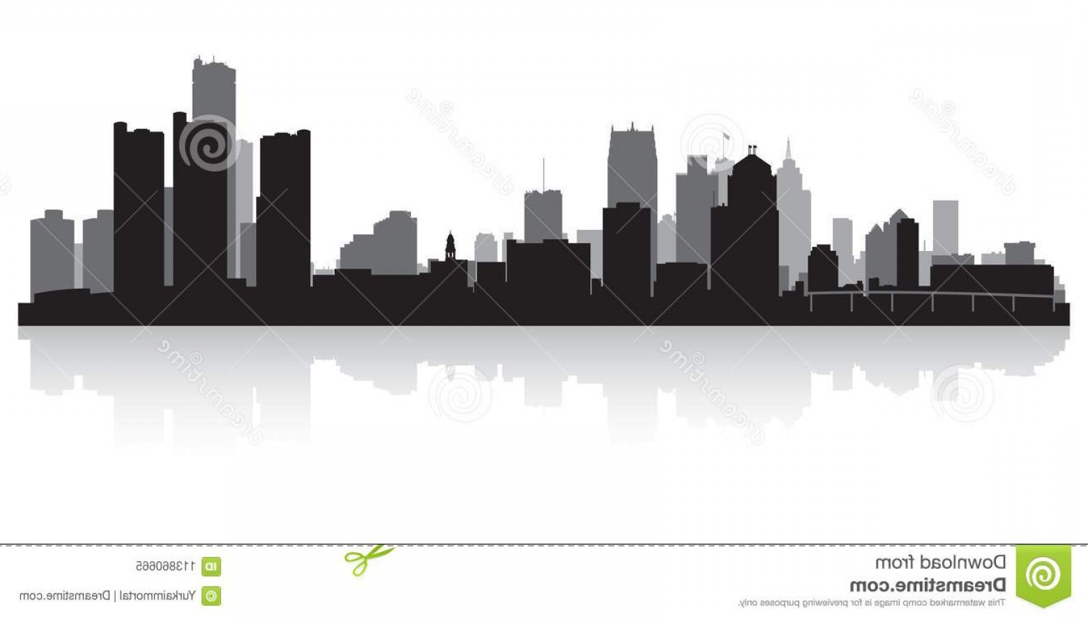Michigan Vector Artwork: Detroit Michigan City Skyline Silhouette Detroit Michigan Usa City Skyline Silhouette Background Vector Illustration Image