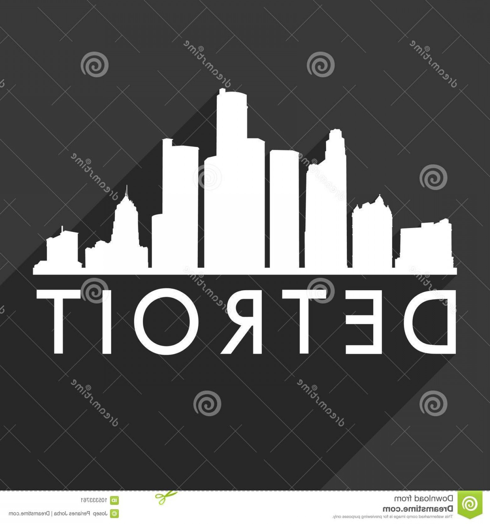 Michigan Vector Artwork: Detroit Michigan United States America Usa Icon Vector Art Flat Shadow Design Skyline City Silhouette Template Black Image