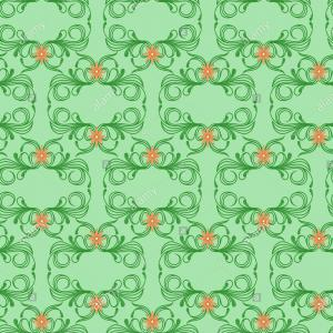 Victorian Floral Pattern Vector: Delicate Seamless Vector Antique Floral Pattern Of Victorian Style In Green Hues With Orange Flowers As A Fabric Texture Image