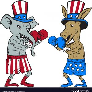 Republican Elephant Vector: Democrat Donkey Boxer And Republican Elephant Vector