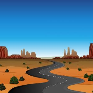 Sunset Road Background Vector: Desert Scene With Empty Road