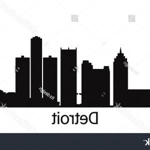Vector Building Detroit: Detroit City Outline Skyline All Buildings