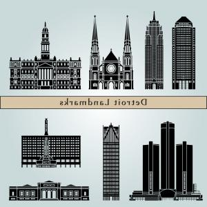 Vector Building Detroit: Photodetroit Usa City Skyline Silhouette Vector Illustration