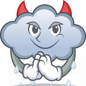 Super Mario Cloud Vector: Devil Rain Cloud Character Cartoon Vector