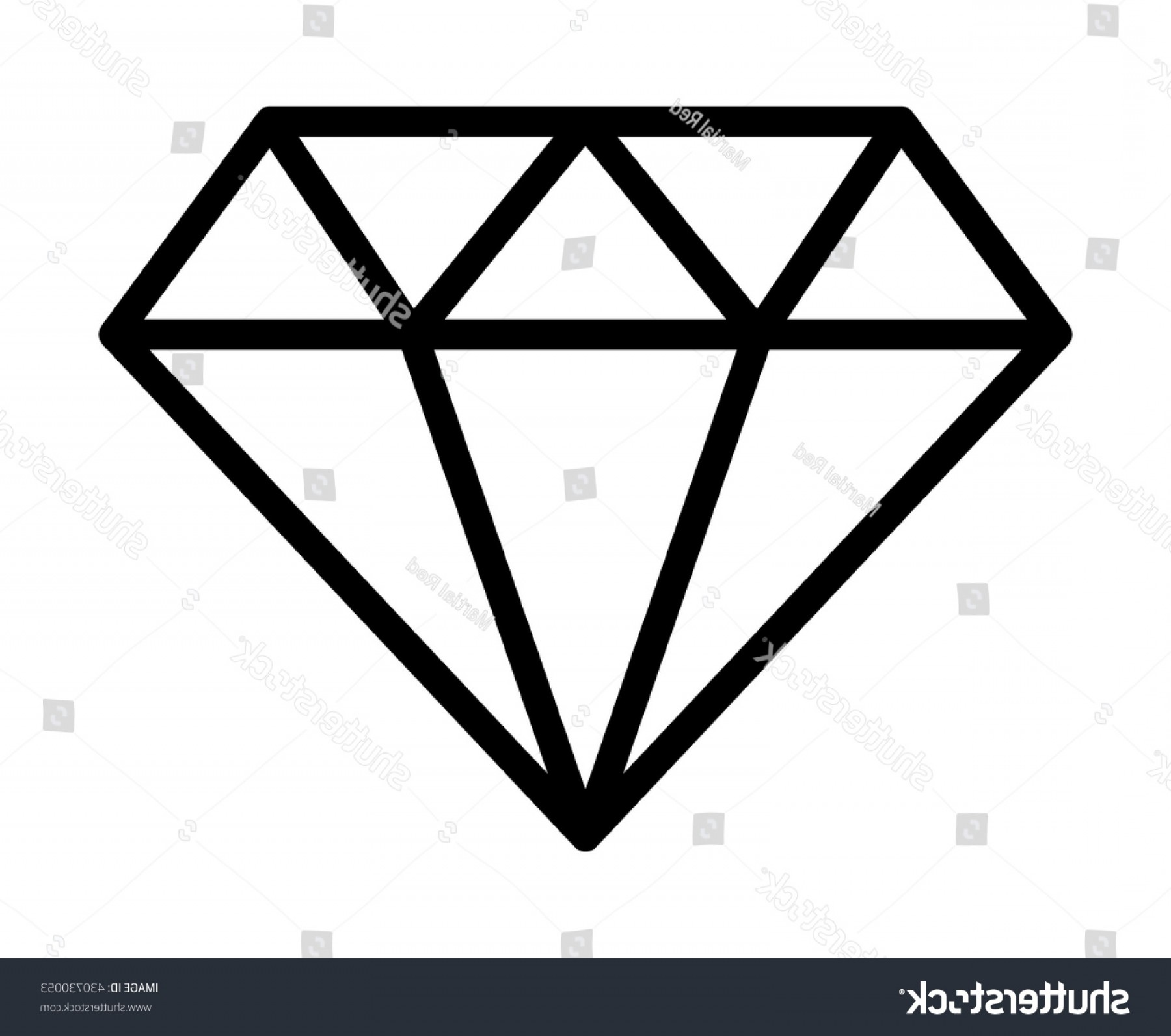 Black Diamond Vector Clip Art: Diamond Jewel Gemstone Line Art Icon