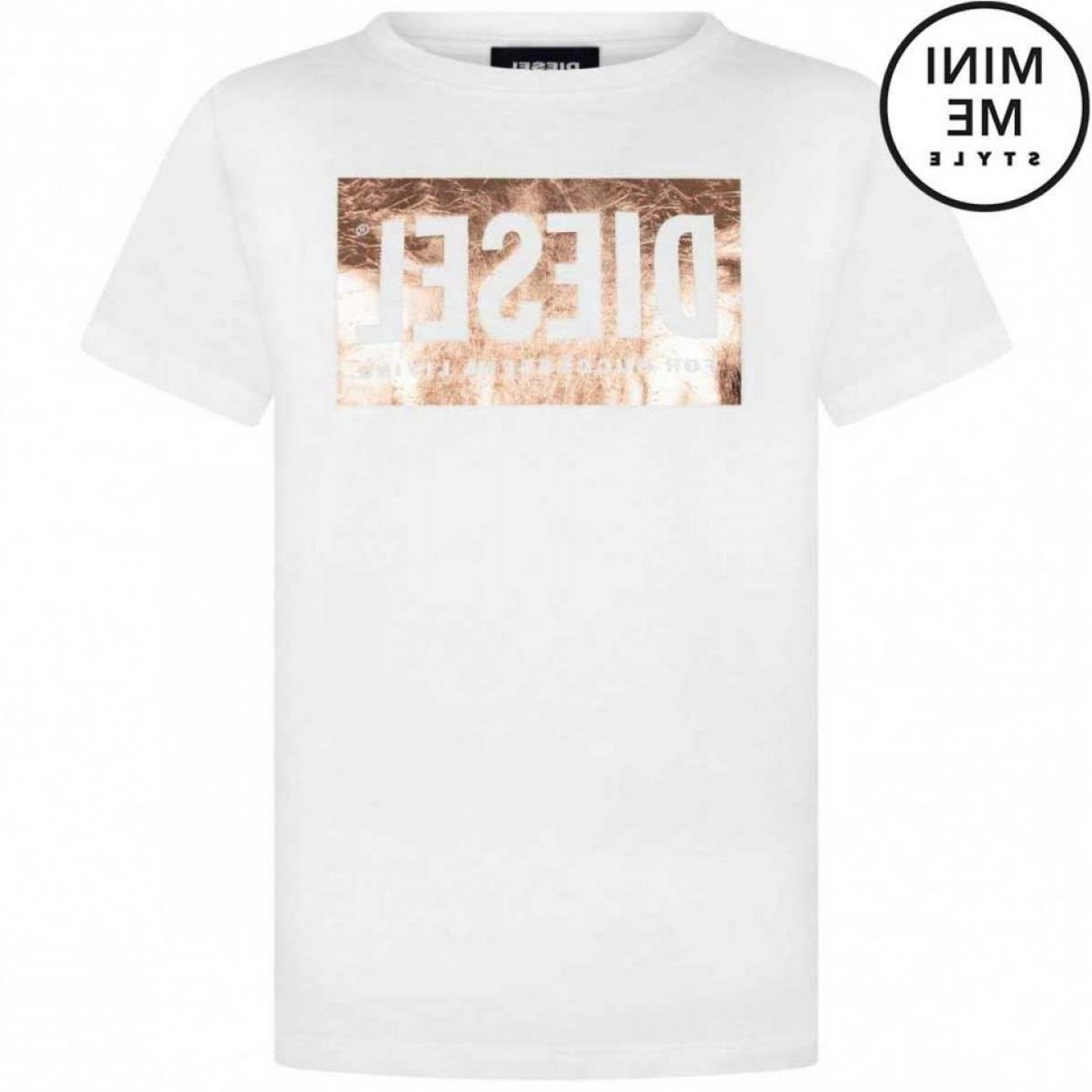 Diesel T-Shirt Vector: Diesel Girls White T Foil Logo Top