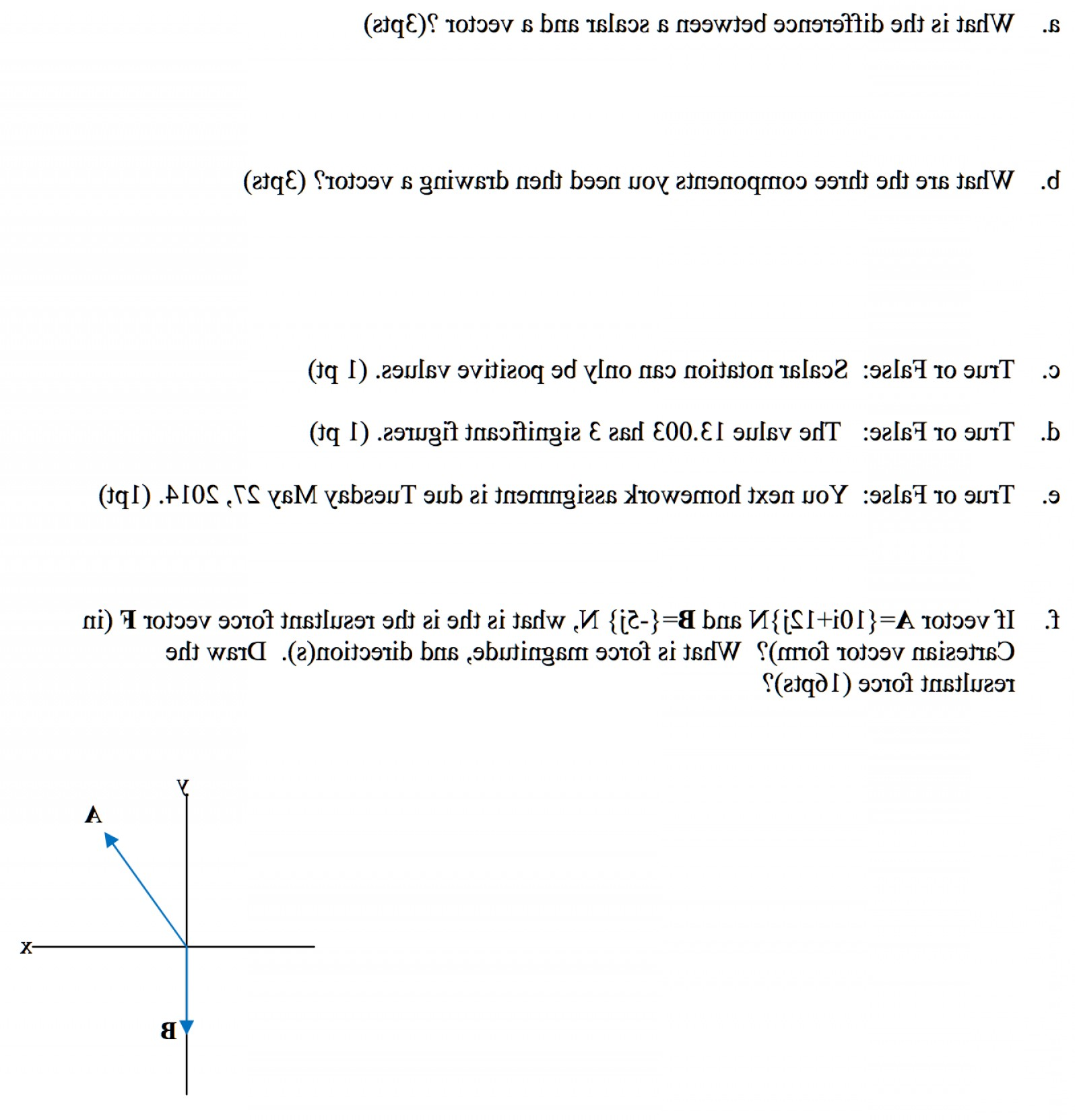 Vector And Scalar Difference: Difference Scalar Vector Three Components Need Drawing Vector True False Scalar Notation P Q