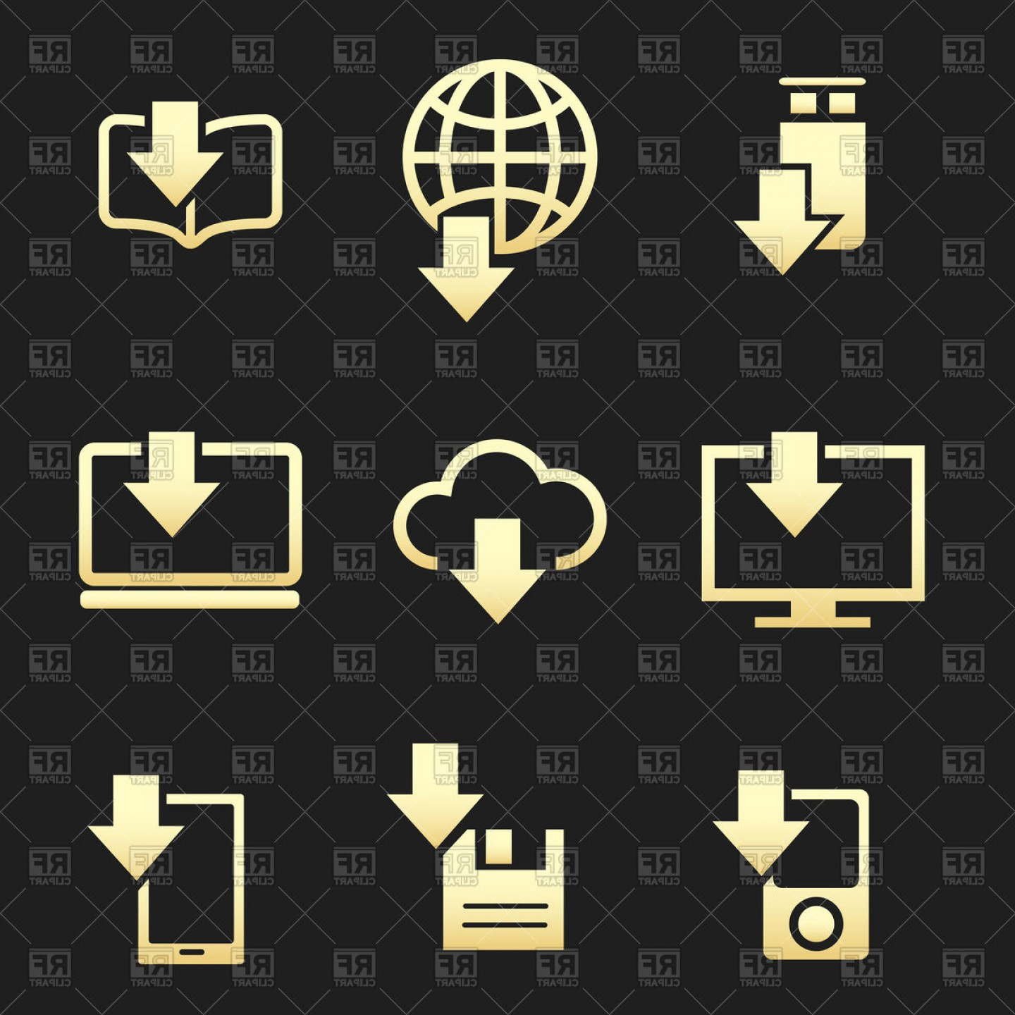 Downloadable Vector Cross: Different Devices Downloading Data Set On Black Background Vector Clipart