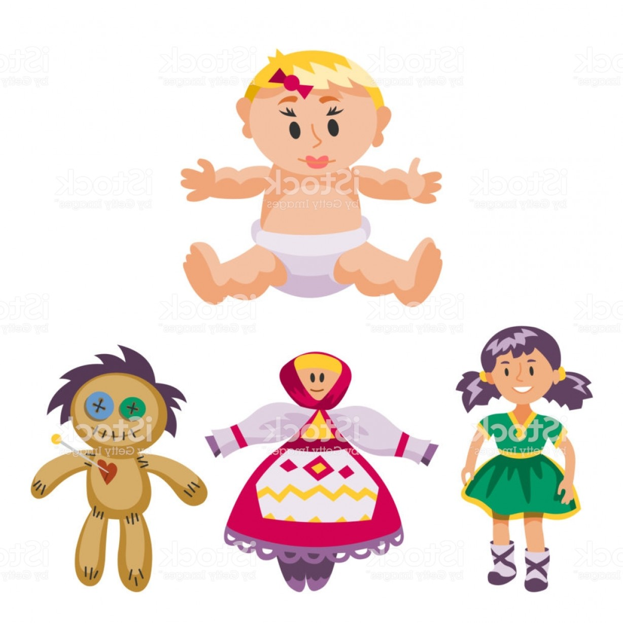 Scarecrow Vector Art: Different Dolls Toy Character Game Dress And Farm Scarecrow Rag Doll Vector Gm