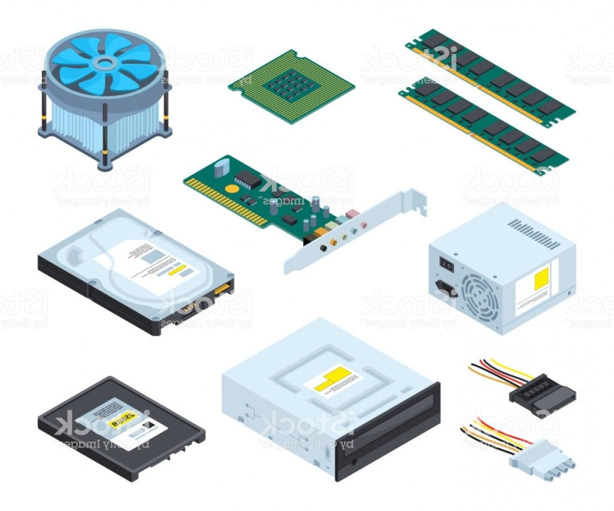 Vector Travel Cooler Parts: Different Hardware Parts And Components Of Personal Computer Vector Isometric Gm