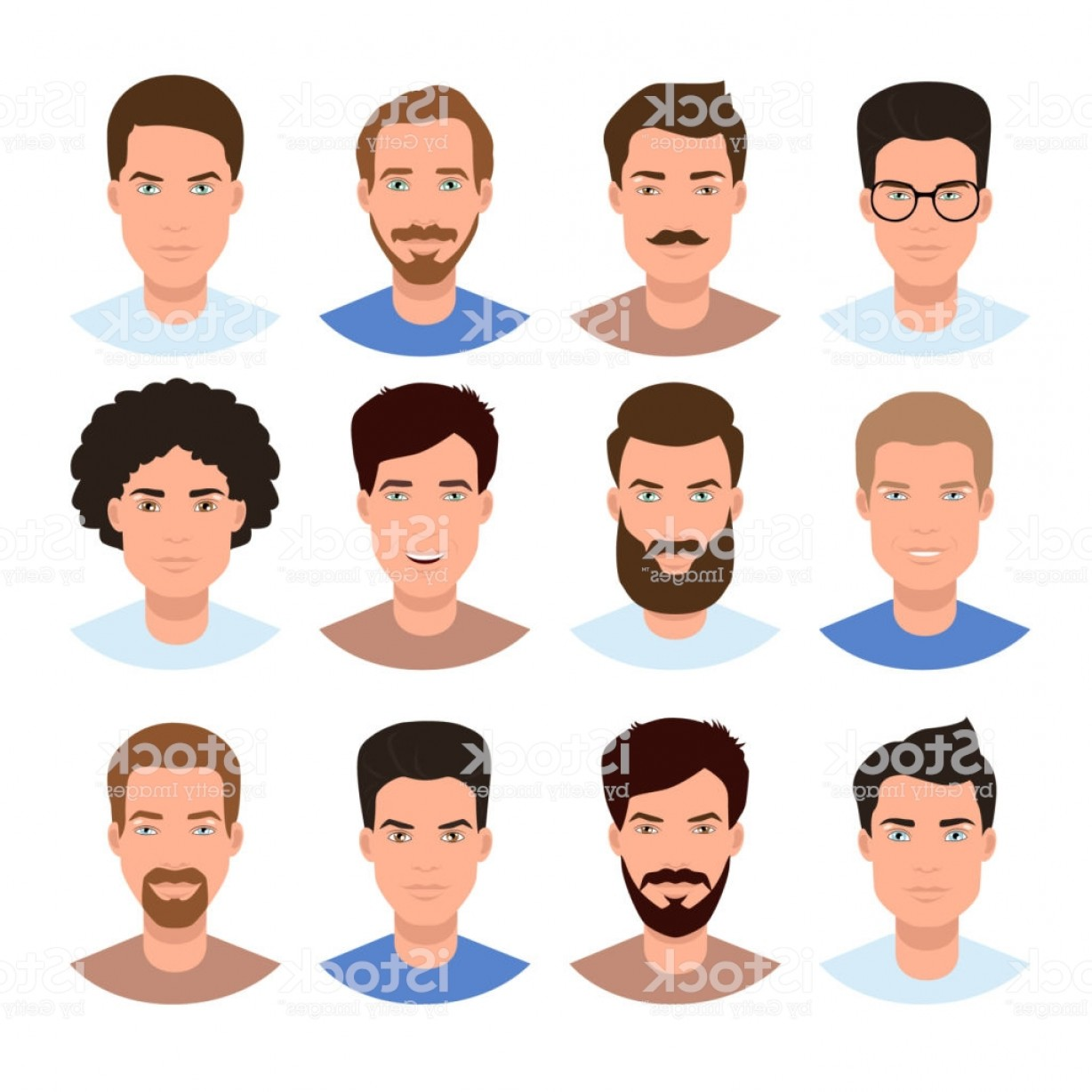 Male Face Icon Vector: Different Human Race Male Faces Boys Avatars Man Head Icon Vector Isolated Gm