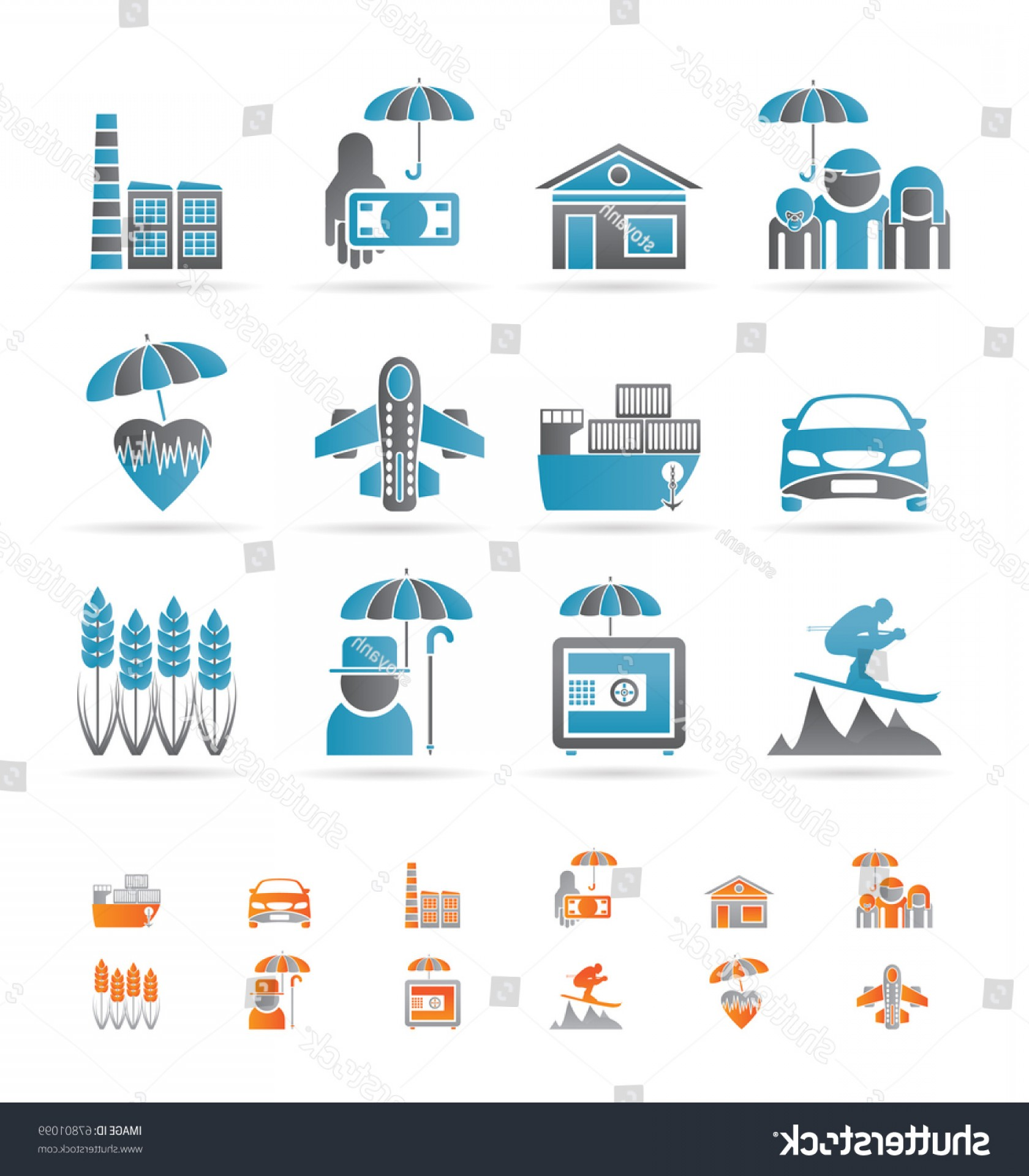 Vector Insurance: Different Kind Insurance Risk Icons Vector