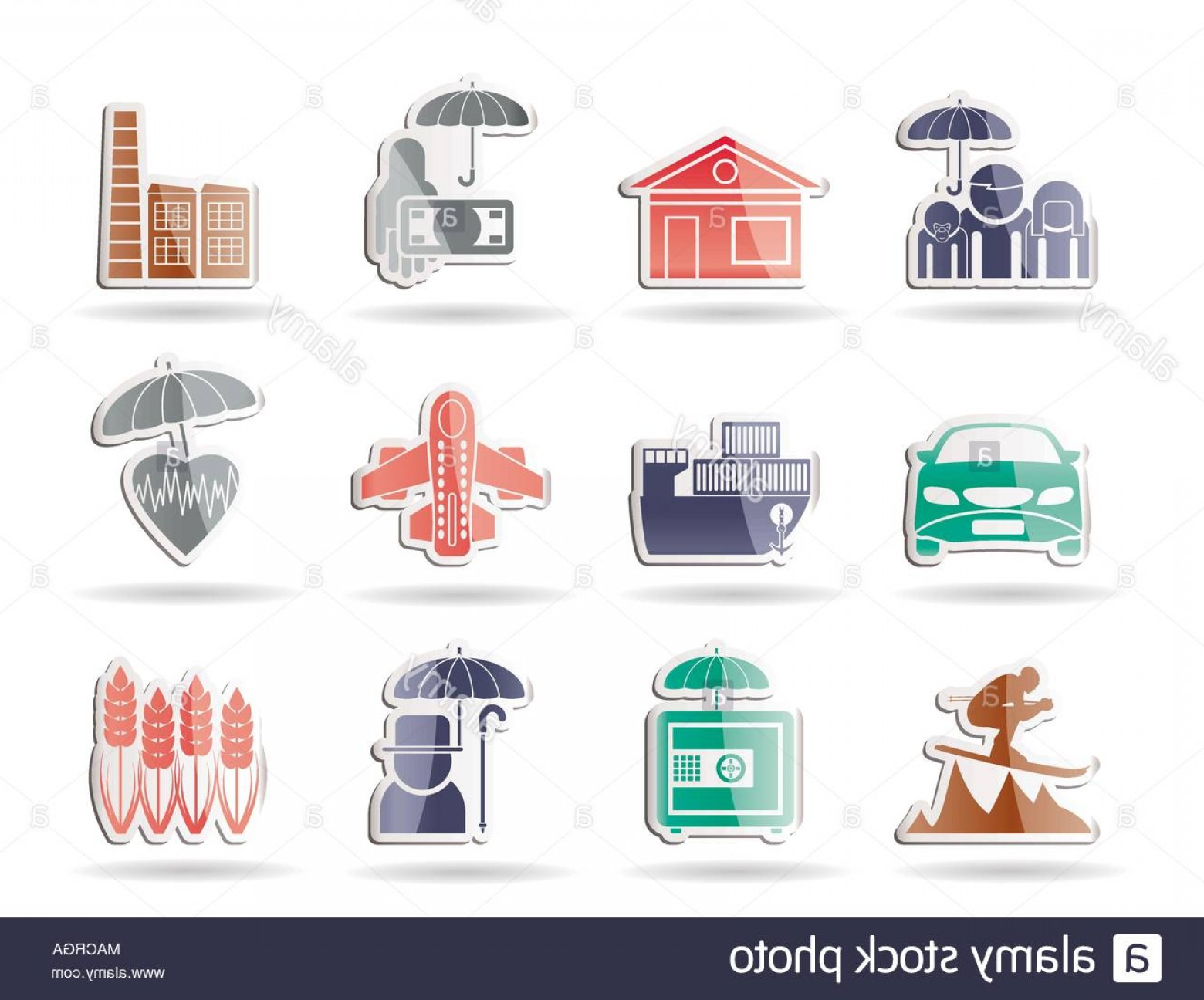 Vector Insurance: Different Kind Of Insurance And Risk Icons Vector Icon Set Image
