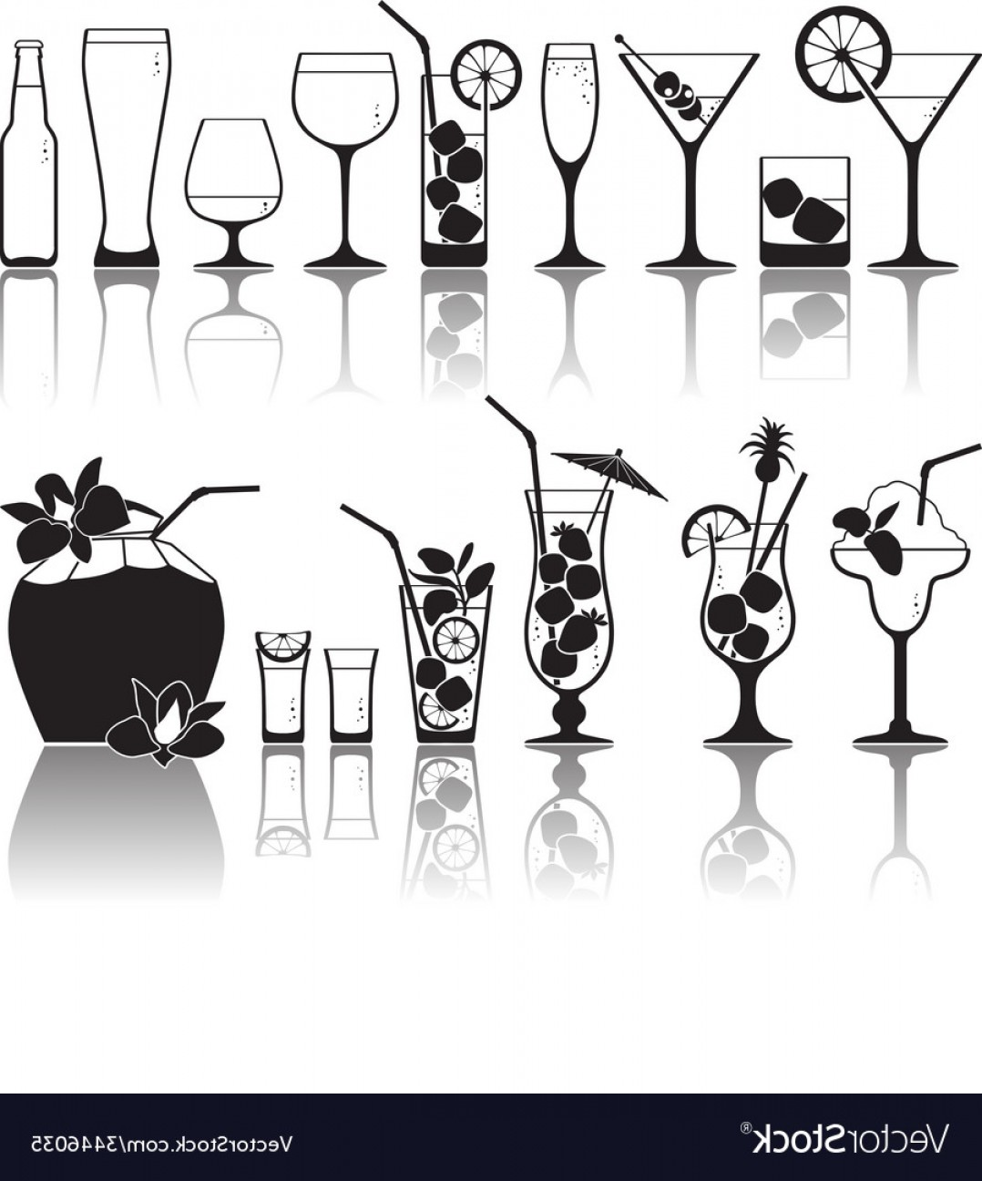 Juice Vector Black: Different Kinds Of Glasses With Aperitifs Juice Vector