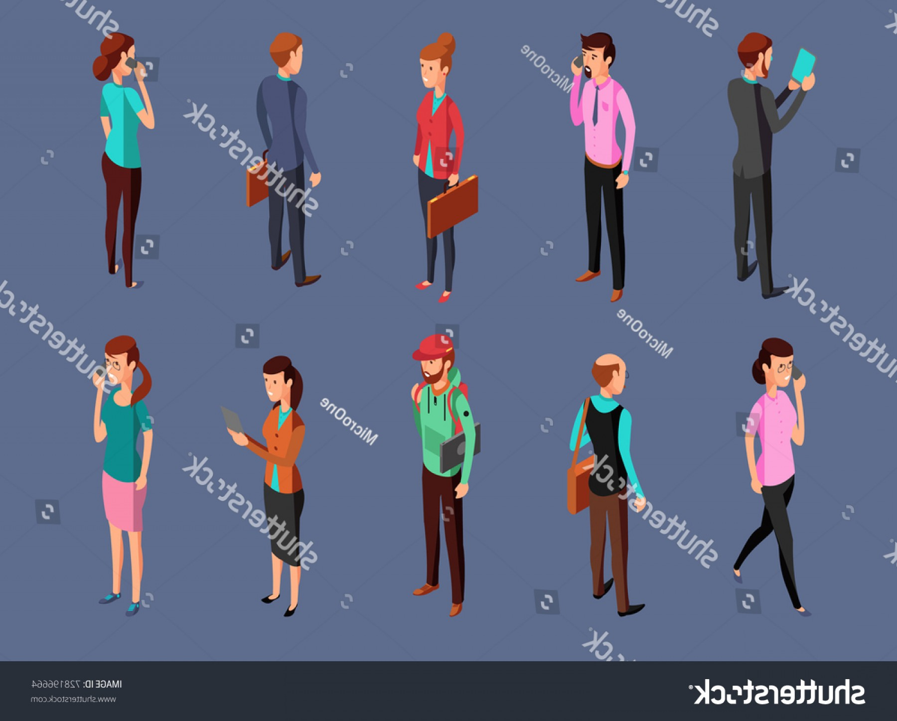Vector Organisms On A Person: Different Office People Standing Using Gadgets