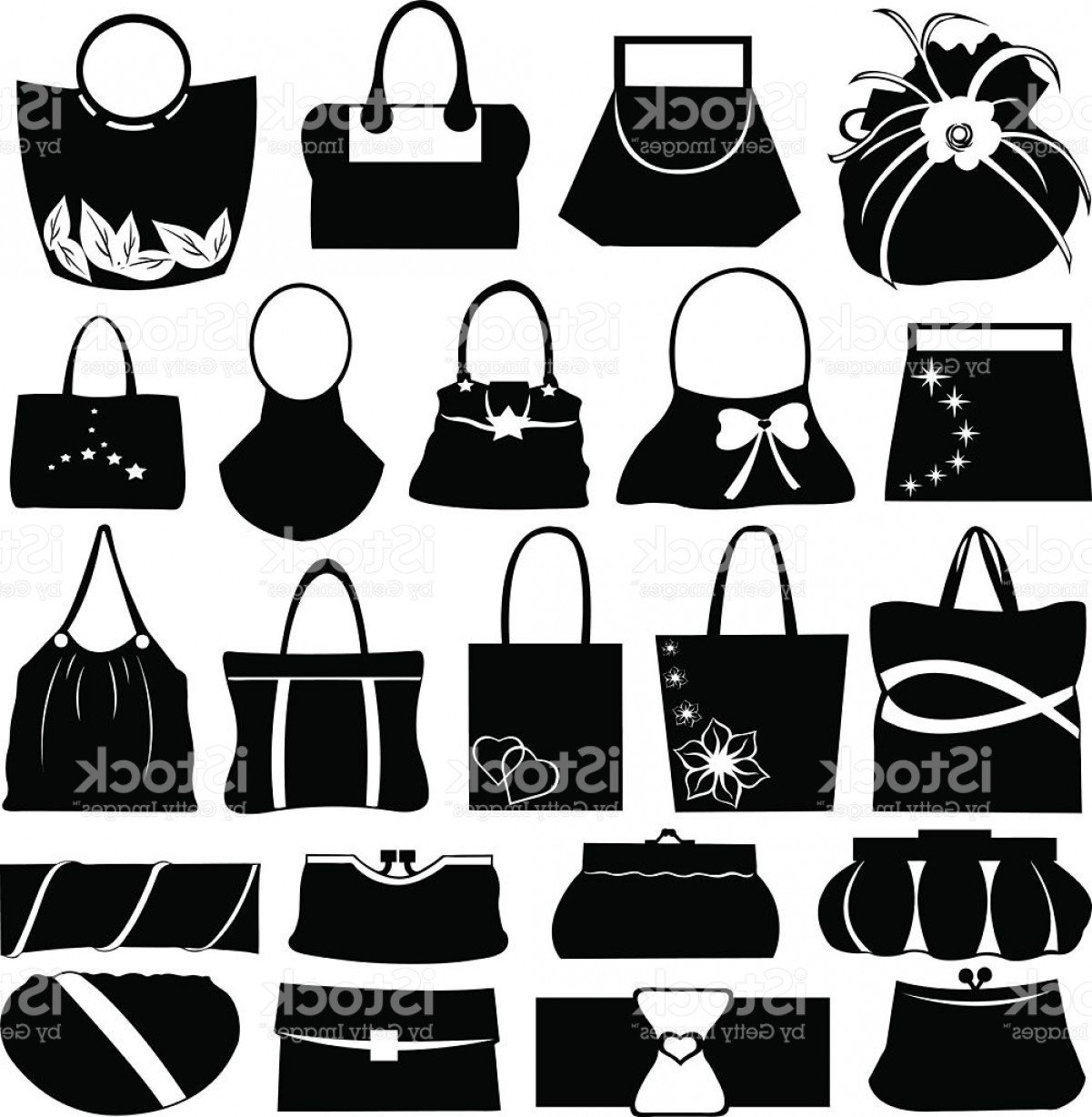 Purse Vector Art: Different Styles Of Handbags And Purses Gm