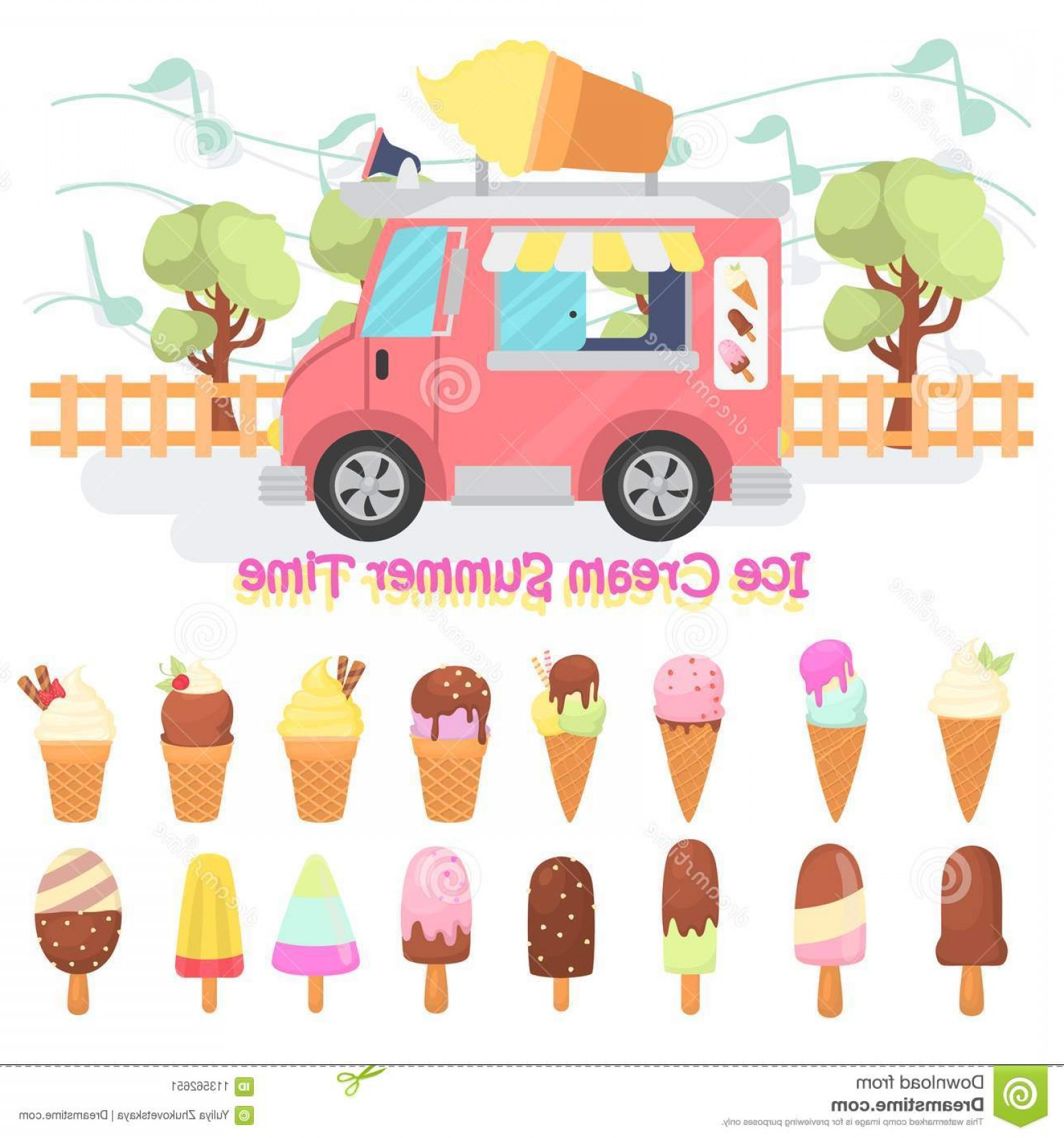 Wen Vehicle Vector Art: Different Tastes Ice Cream Color Flat Icons Set Ice Cream Mobile Van Street Illustration Different Tastes Ice Cream Color Flat Image