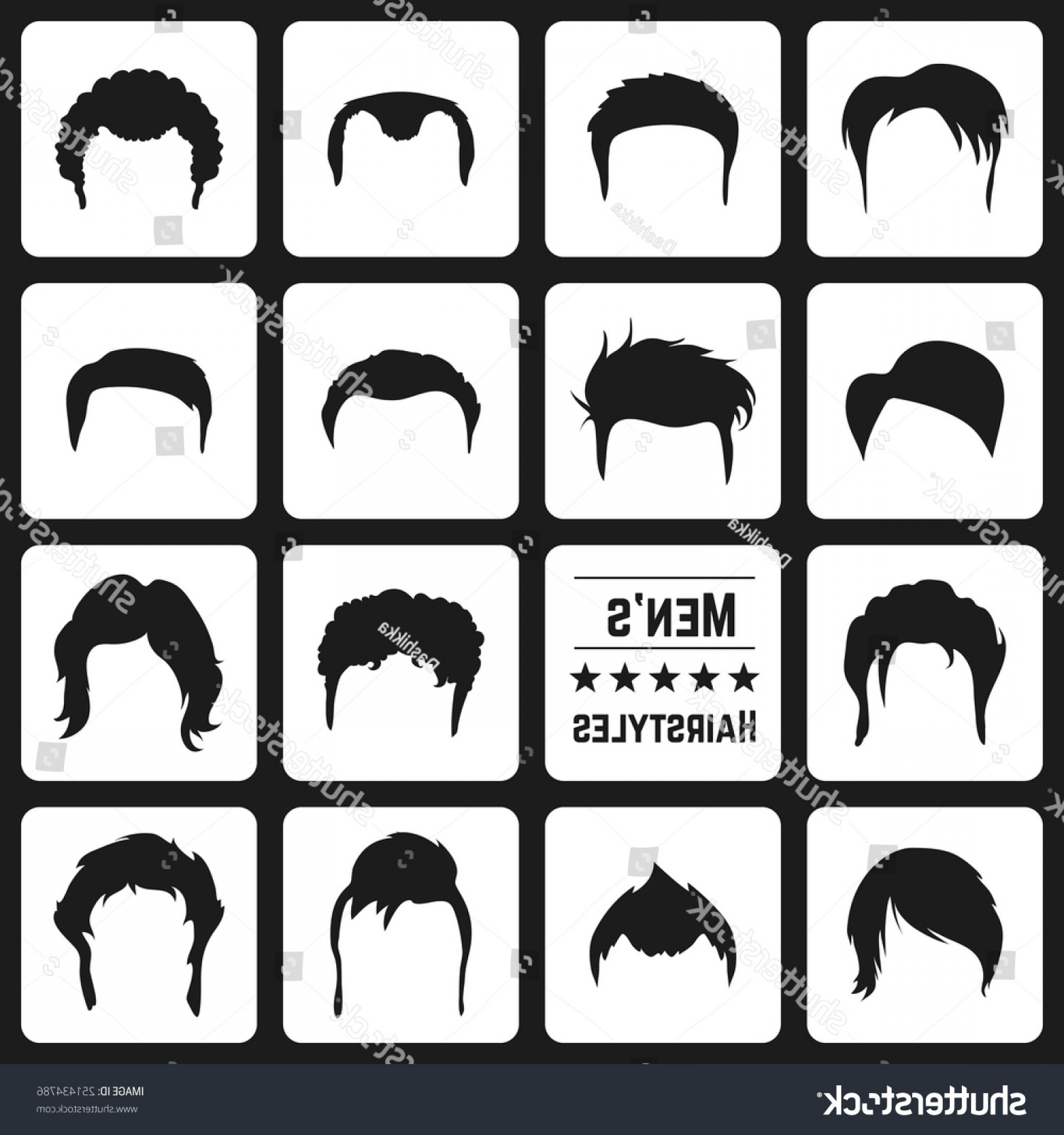 Short Men's Hair Vector: Different Types Mens Haircuts Vector Illusatrtion