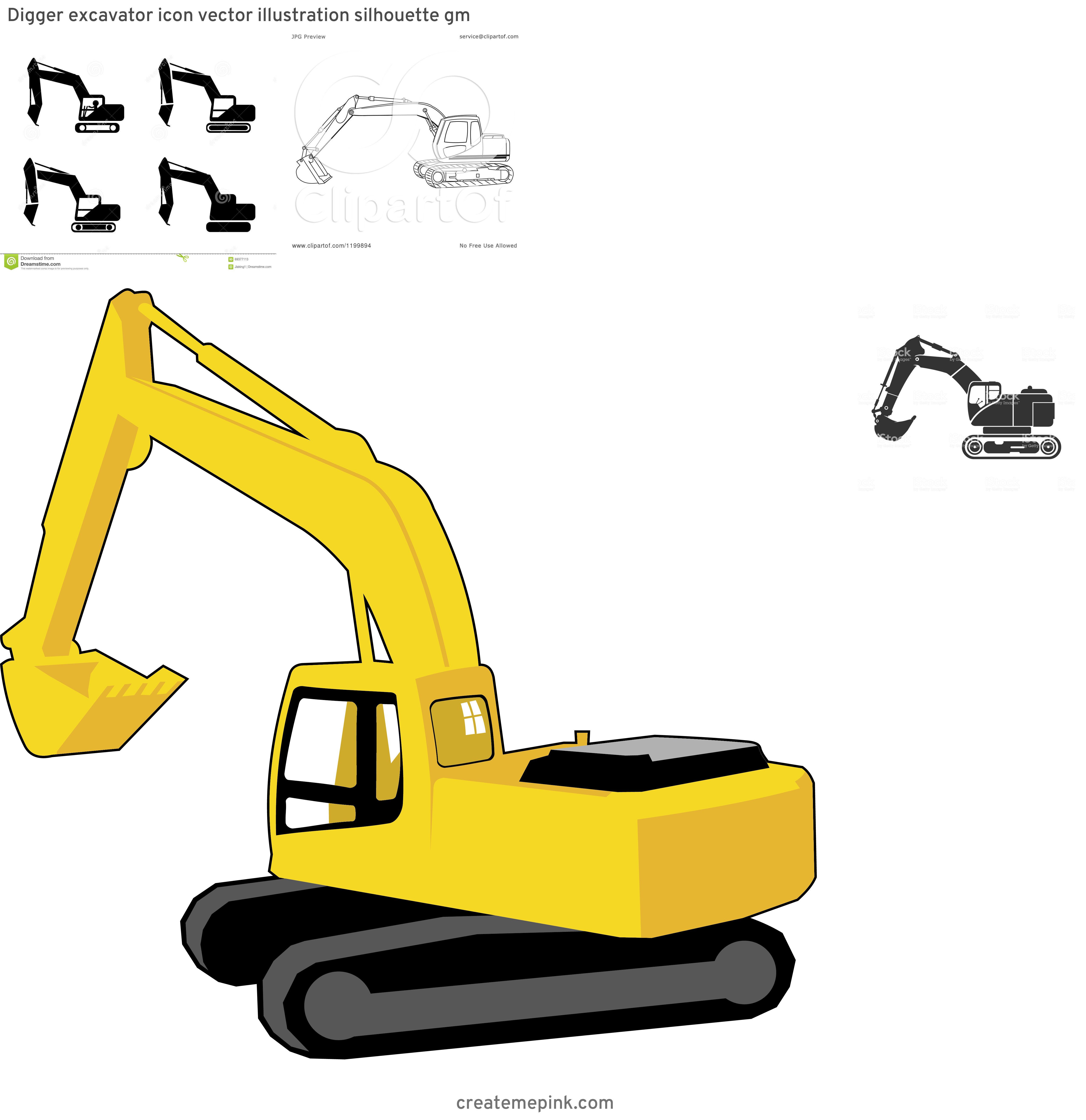 Trackhoe Vector: Digger Excavator Icon Vector Illustration Silhouette Gm