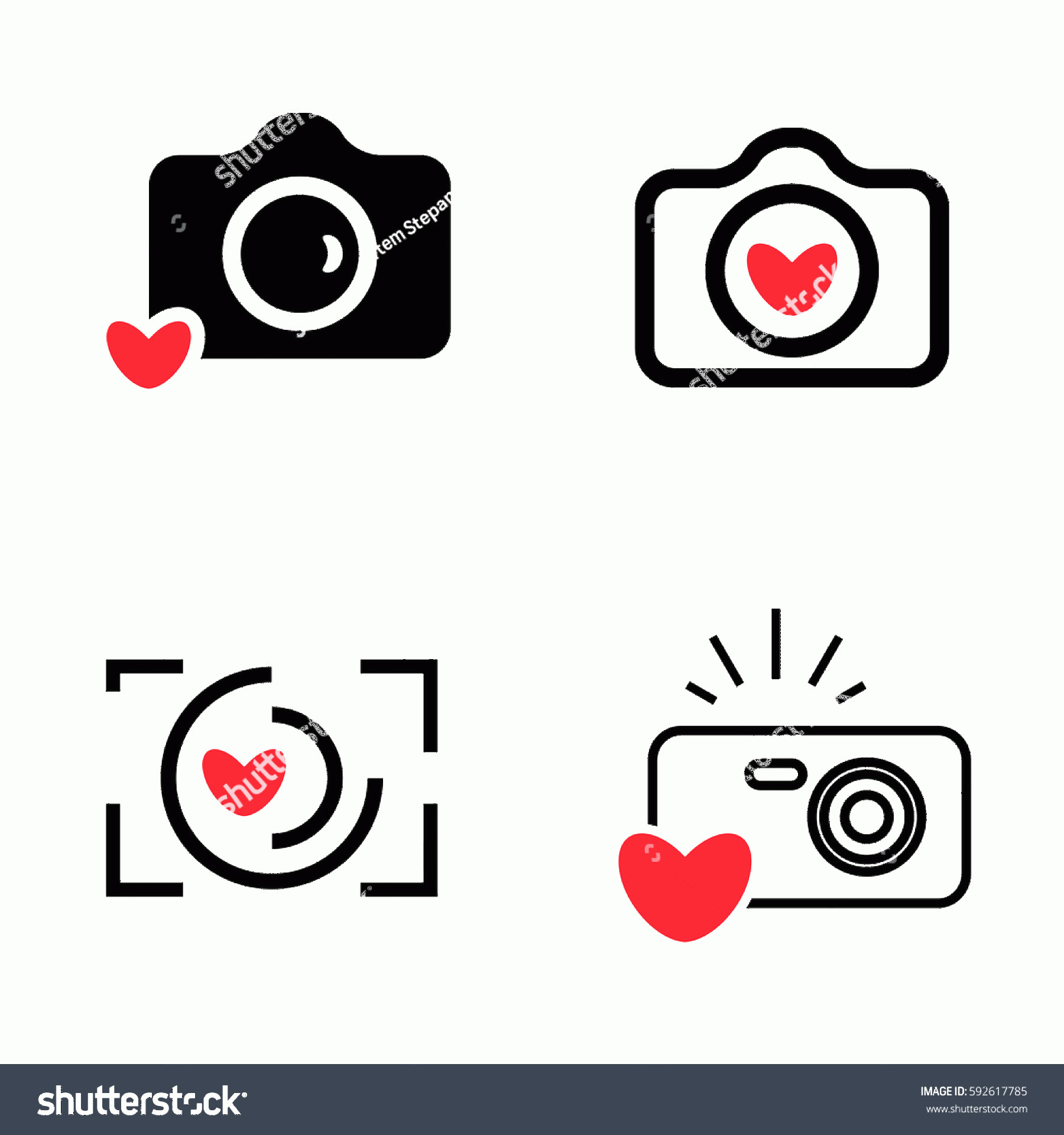 Camera Heart Clip Art Vector: Digital Camera Heart Icons Isolated Snapshot