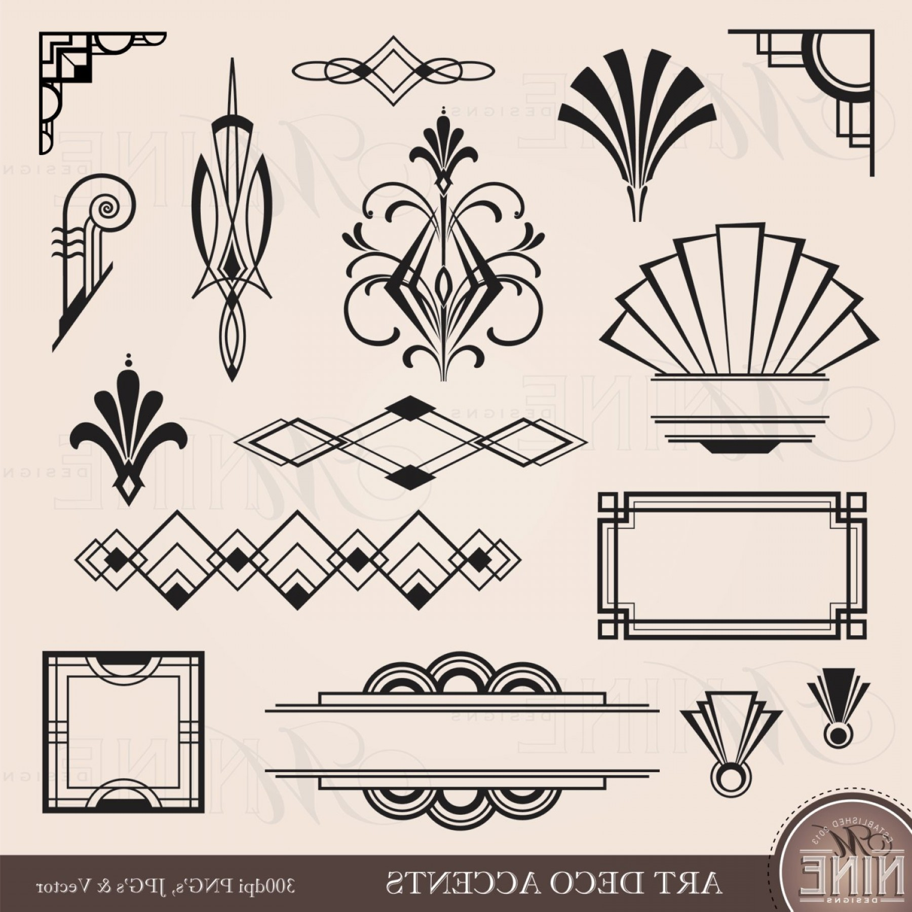 Art Deco Vector Small Posters: Digital Clipart Art Deco Design Elements