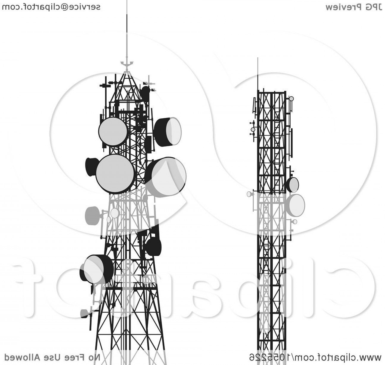 Vector Phone Tower: Digital Collage Of Communication Towers