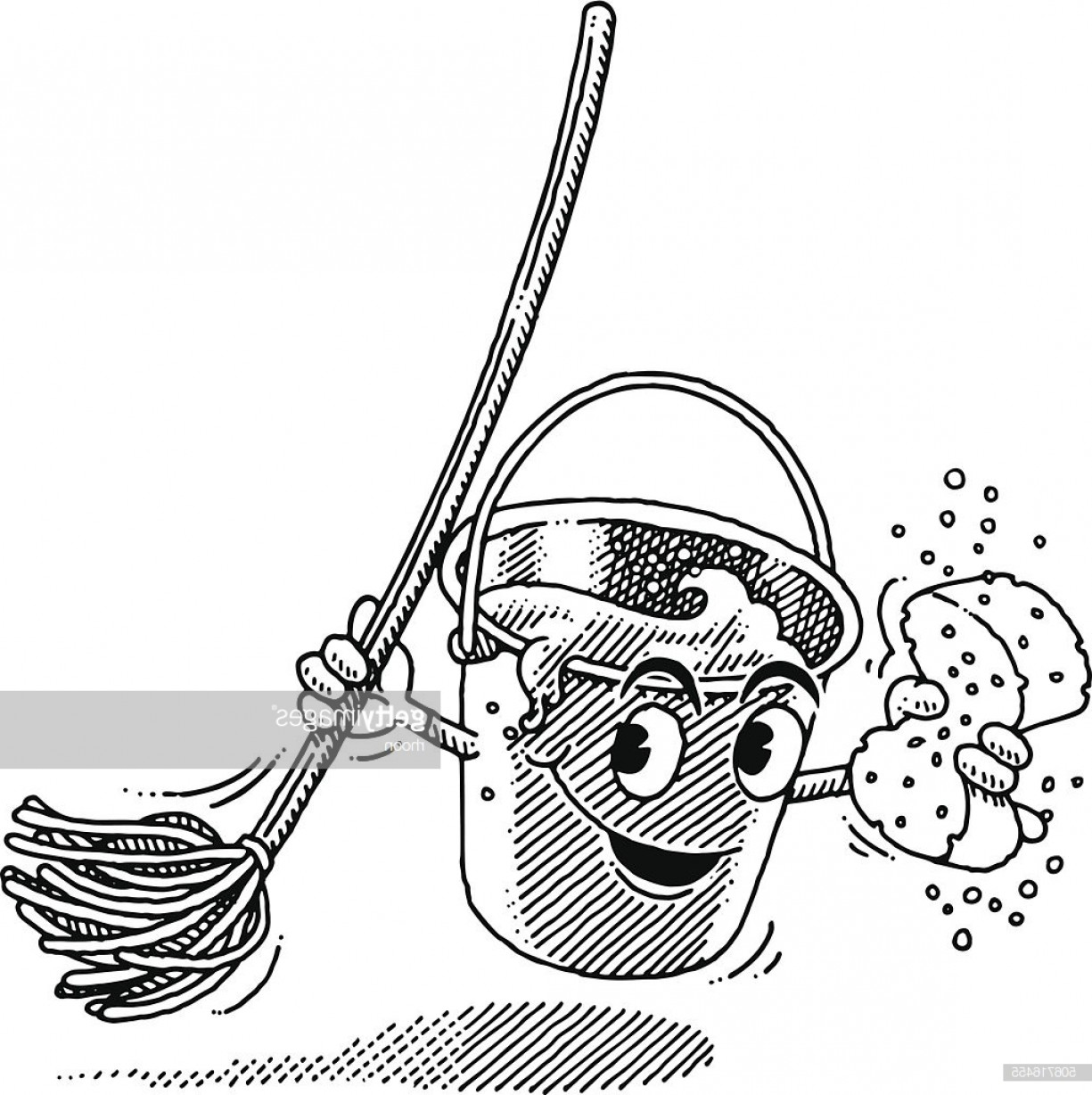 Mop And Bucket Clip Art Vector: Digital Illustration Of Mop And Bucket Illustration