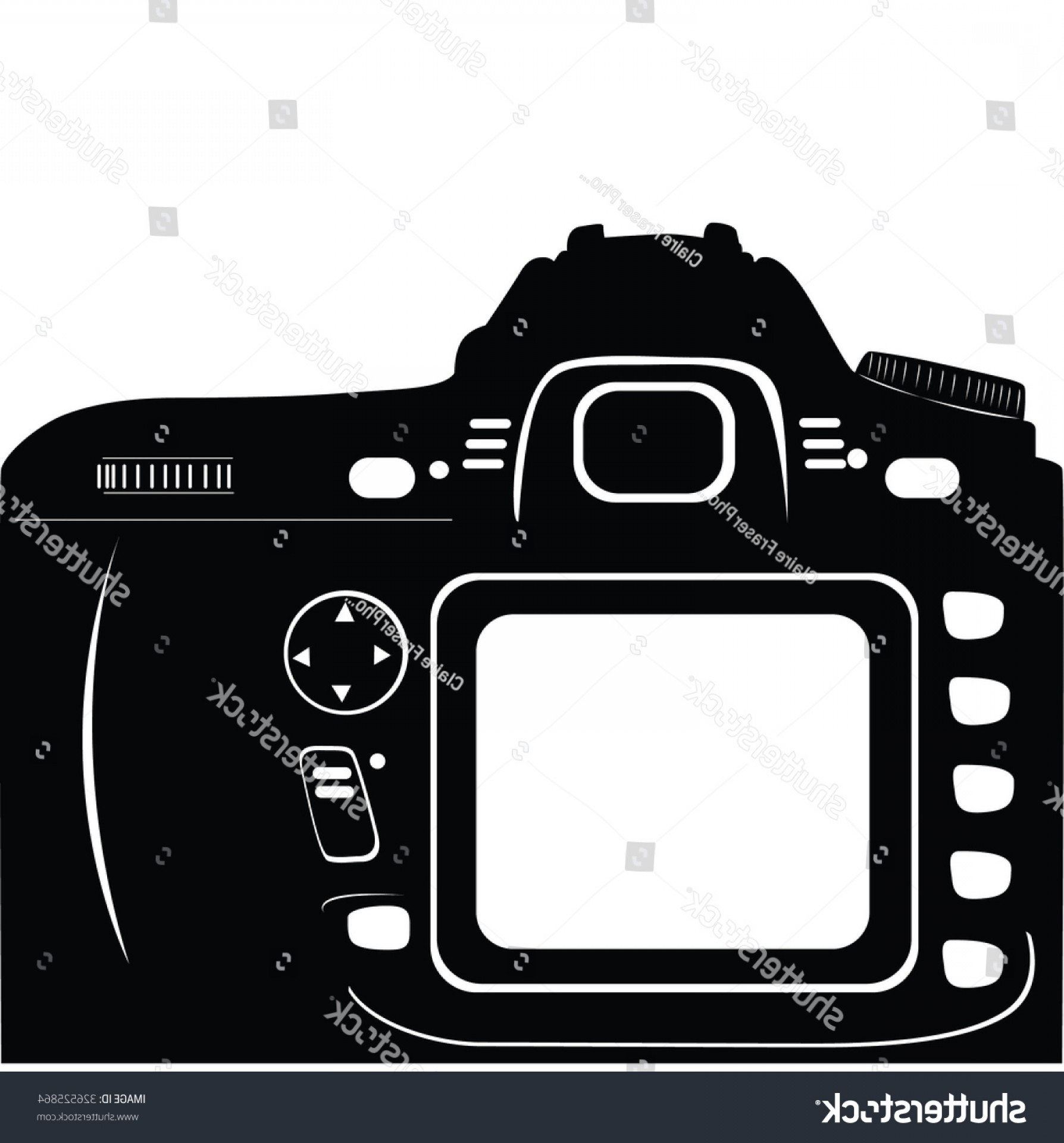 SLR Camera Vector: Digital Slr Camera Back Display Black