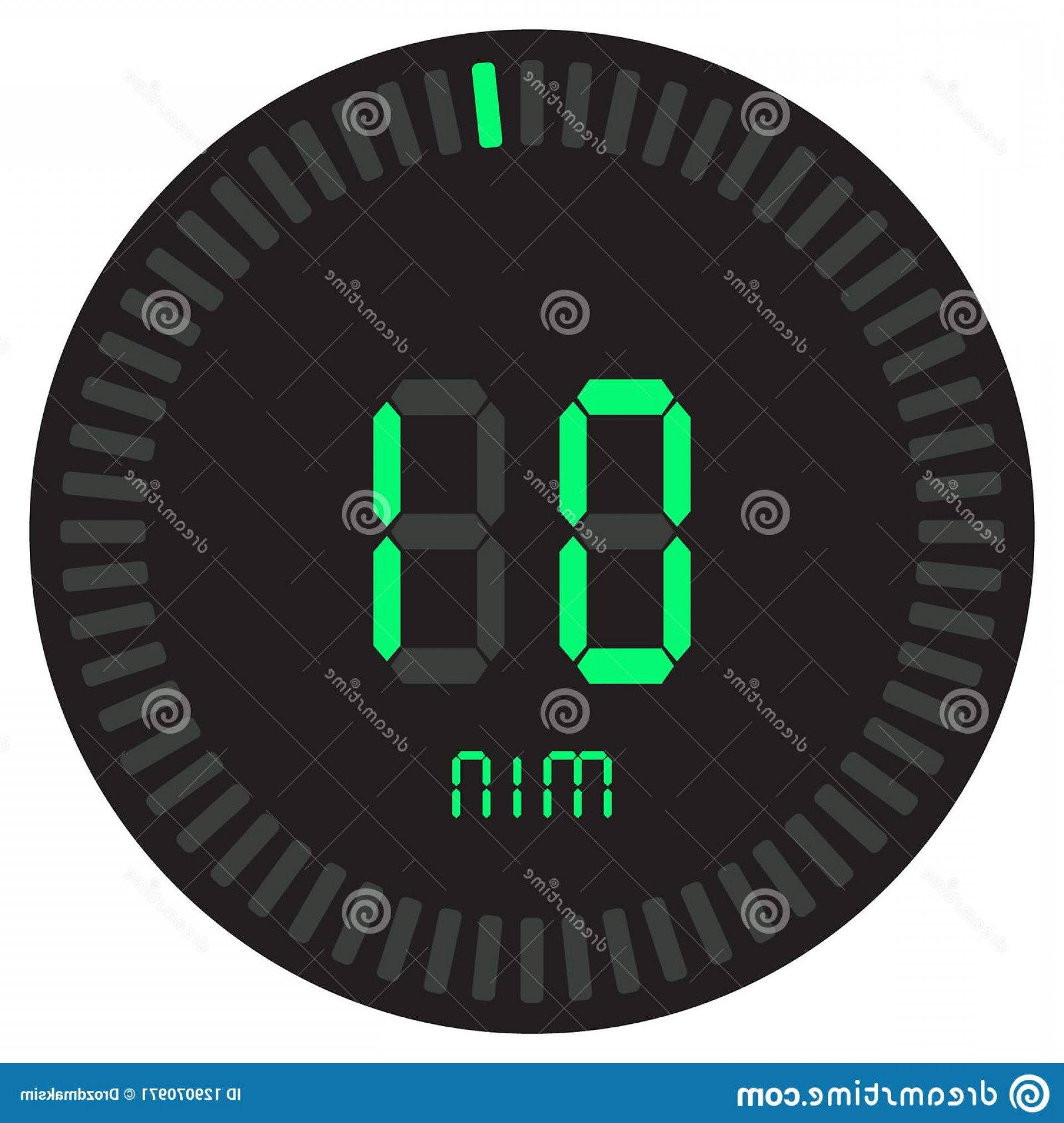 Stop Watch Vector Ai File: Digital Timer Minute Electronic Stopwatch Gradient Dial Starting Vector Icon Clock Watch Countdown Green Symbol Image