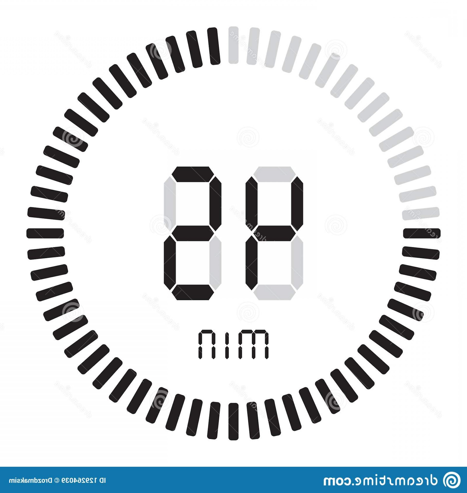 Stop Watch Vector Ai File: Digital Timer Minutes Electronic Stopwatch Gradient Dial Starting Vector Icon Clock Watch Timer Countdown Symbol Image