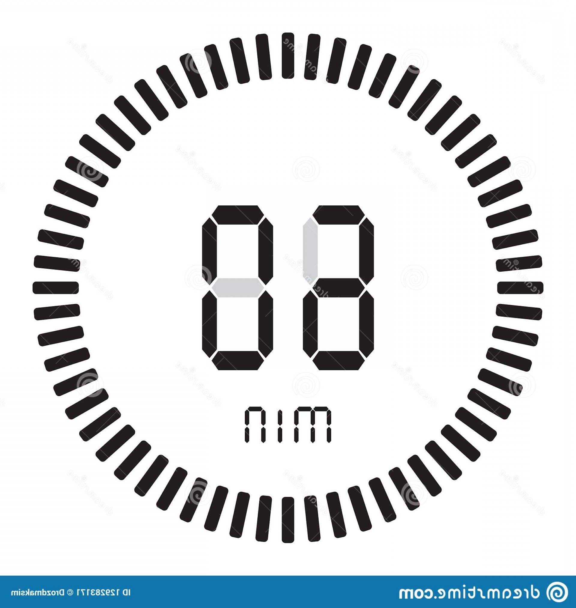Stop Watch Vector Ai File: Digital Timer Minutes Hour Electronic Stopwatch Gradient Dial Starting Vector Icon Clock Watch Timer Digital Image