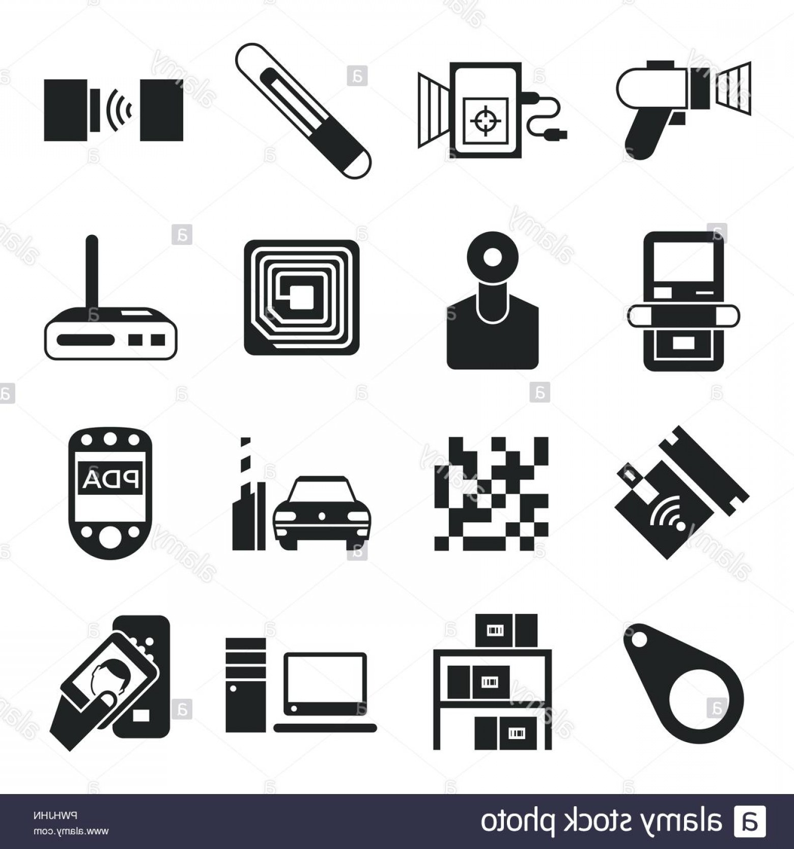 Radio Frequency Vector: Digital Vector Rfid Radio Frequency Identification Chip Simple Icons Set Collection Flat Style Infographics Image