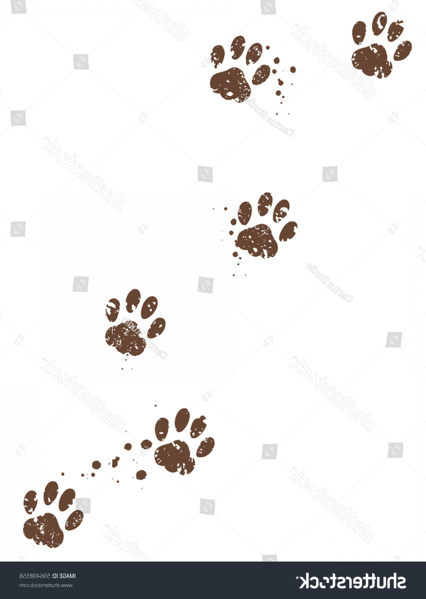 Transparent Brown Vector Background: Dirty Paw Tracks Mud Stains Vector