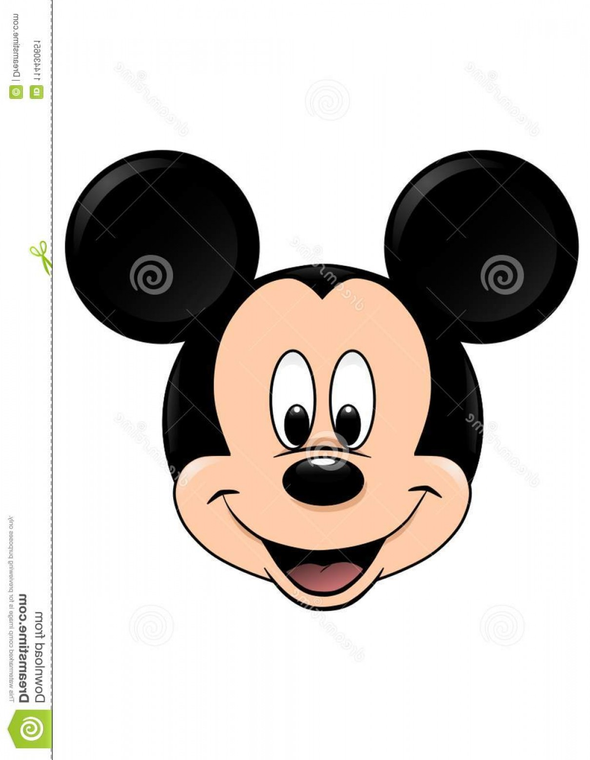 Vector Mickey Mouse Christmas: Disney Vector Illustration Mickey Mouse Isolated White Background Love Face Closeup Colored Character Who Smiles Big Image