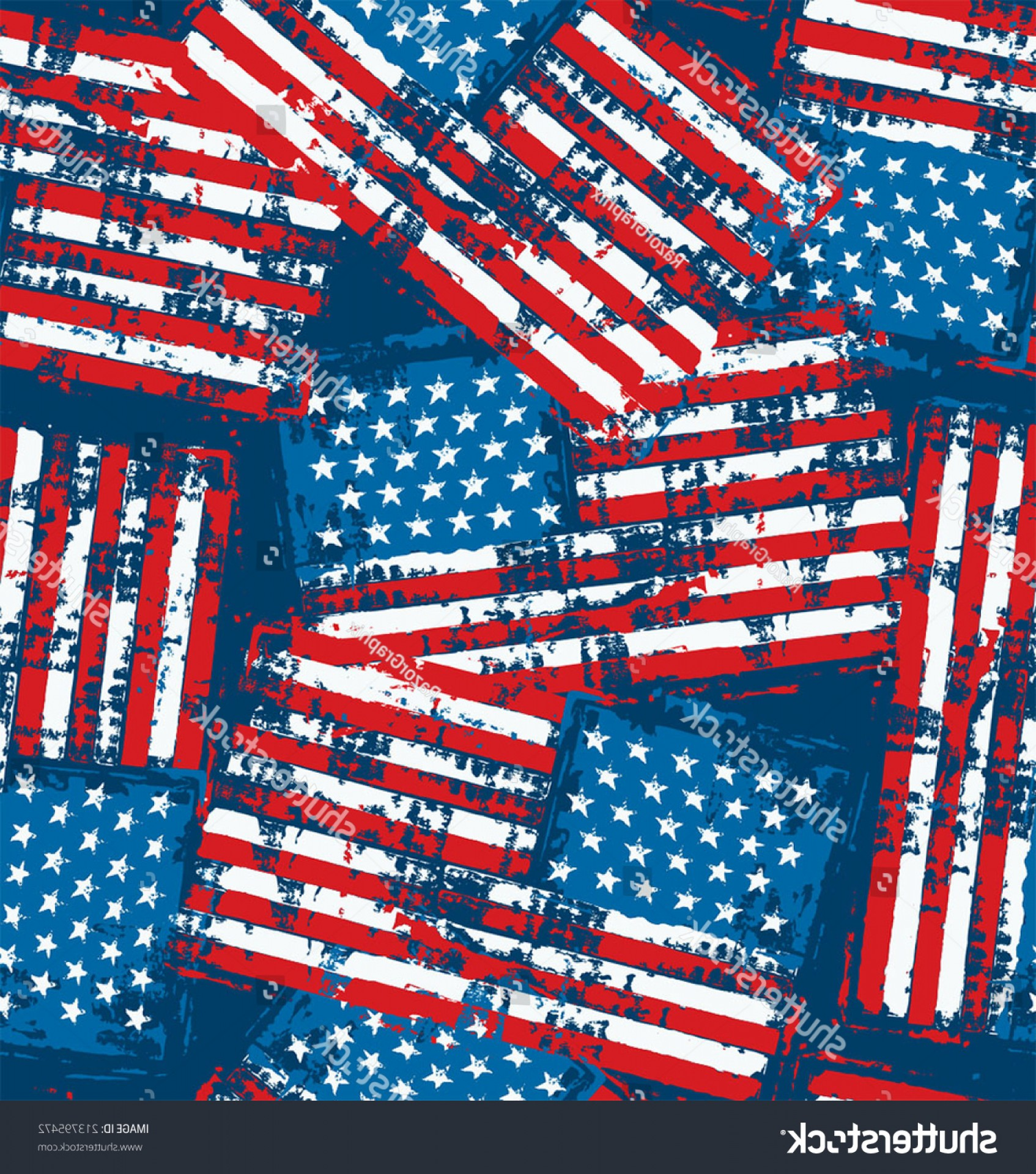 Distressed Flag Vector Digital: Distress Painted American Flag Seamless Pattern