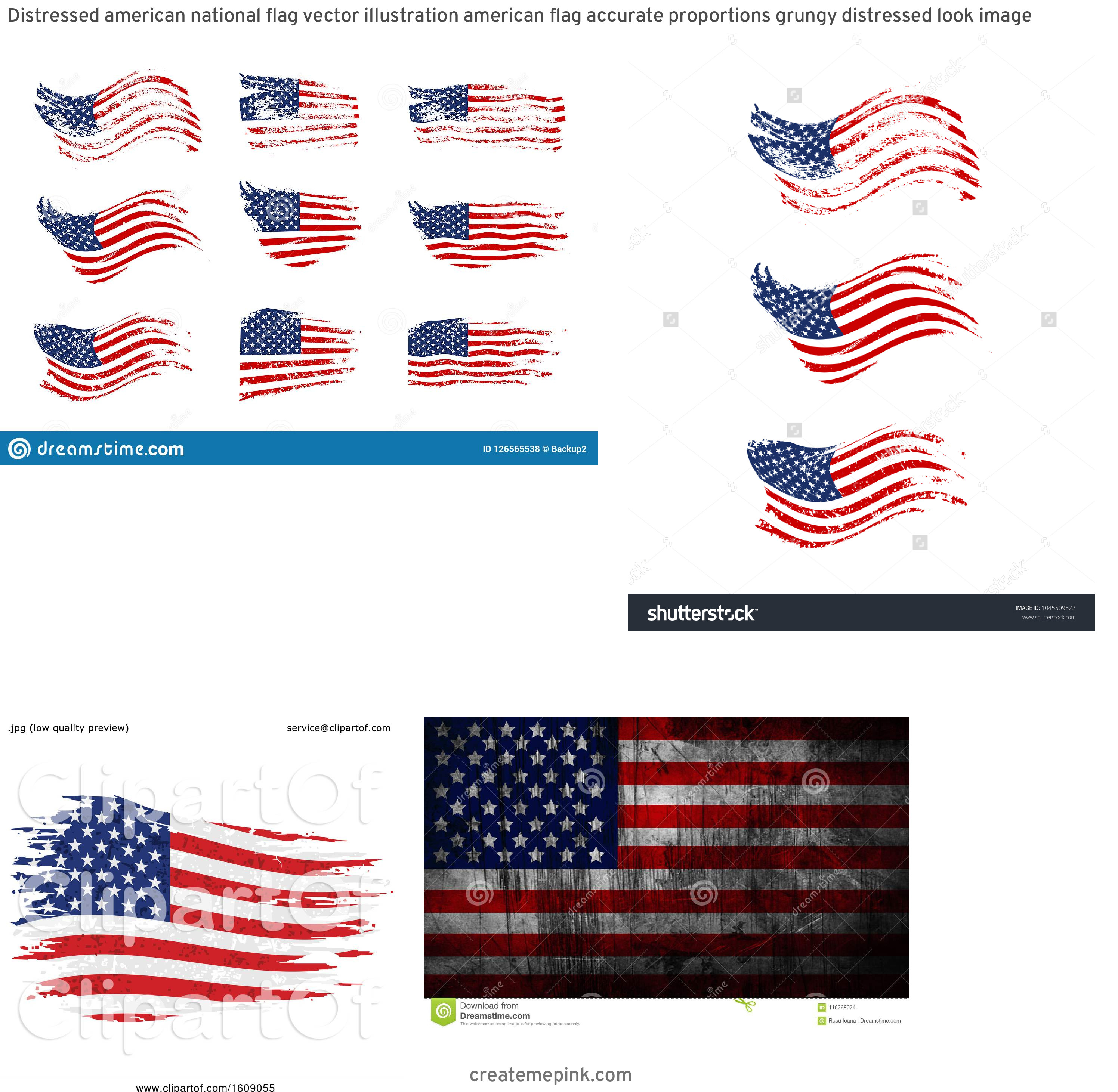 Waving Distressed Flag Vector: Distressed American National Flag Vector Illustration American Flag Accurate Proportions Grungy Distressed Look Image