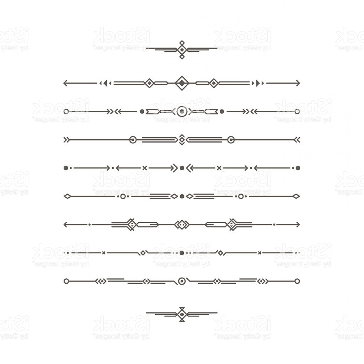 Arrow Border Frame Vector: Dividers Vector Set Geometric Horizontal Line Border And Page Rules Gm
