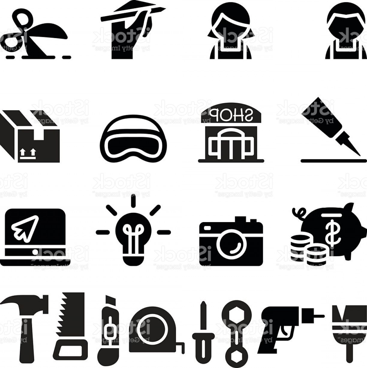Workshop Icon Vector: Diy Workshop Craftsman Craft Icon Set Gm