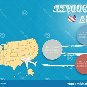United States Airplane Travel Vector: Airplane Flying With Usa Map Vector Illustration Design Image