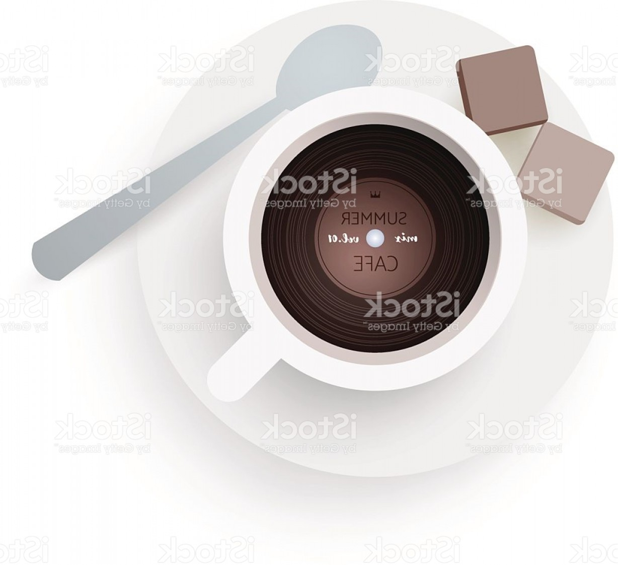 Vinyl Roll Vector: Dj Cafe Abstract Cup Of Coffee With Vinyl Record Gm