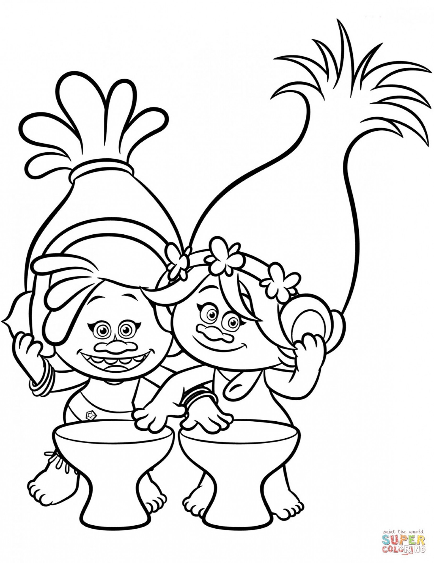 Trolls Poppy And Branch Vector Art: Dj Suki And Poppy From Trolls Coloring Page Picturesque Troll