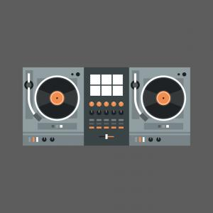 Vector Turntable Mixer: Dj Mixer Icon Modern Music Recorder Concept Vector