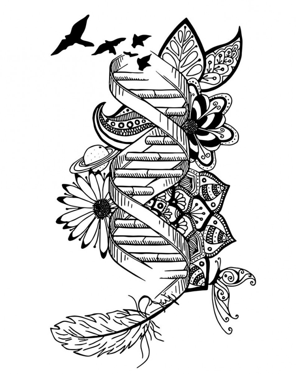 Wall Art Vector Graphics For The Home: Dna Drawing Home Decor Wall Art Genetics