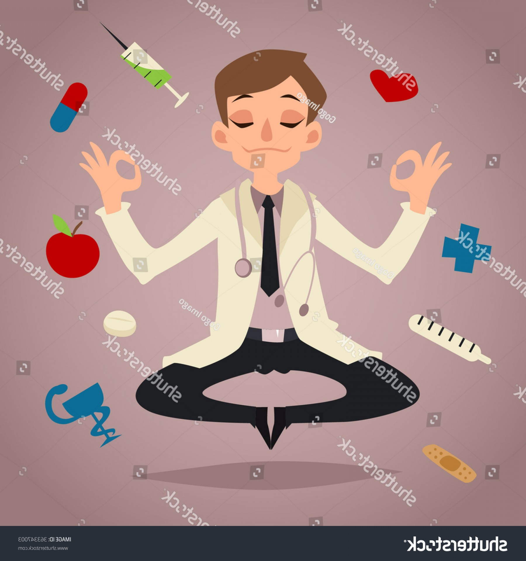Nurse Juggling Vector: Doctor Cartoon Character Vector Illustration Yoga