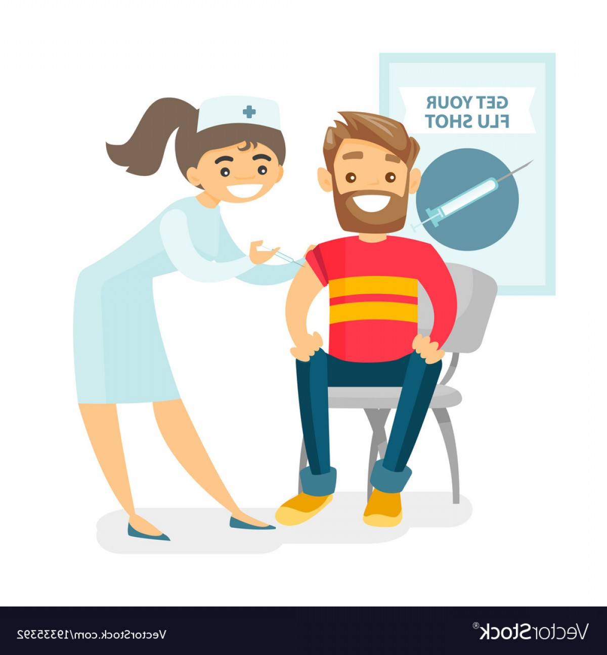 Flu Shot Vector: Doctor Giving A Free Flu Vaccination To A Patient Vector
