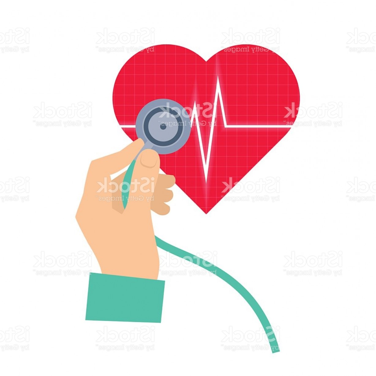 Stethoscope With Heart Vector Art: Doctor Using A Stethoscope Hears A Heart Pulse Gm