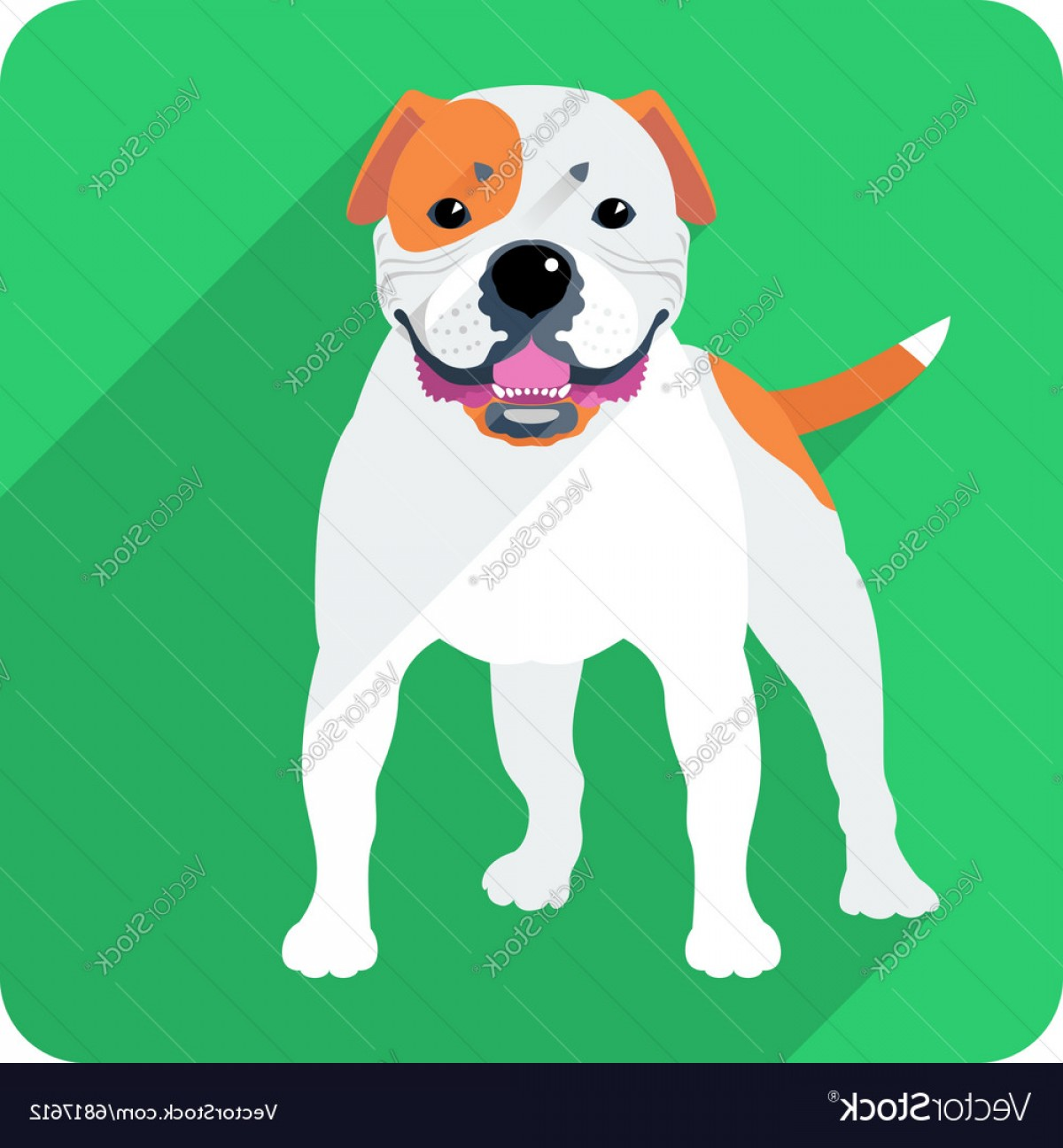 Vector Smiling Bulldog: Dog American Bulldog Icon Flat Design Vector