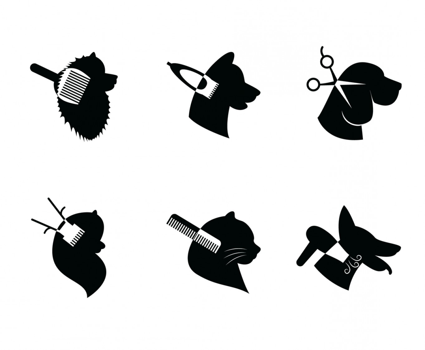 Dog And Cat Vector Illustration: Dog And Cat Grooming Logo Vector